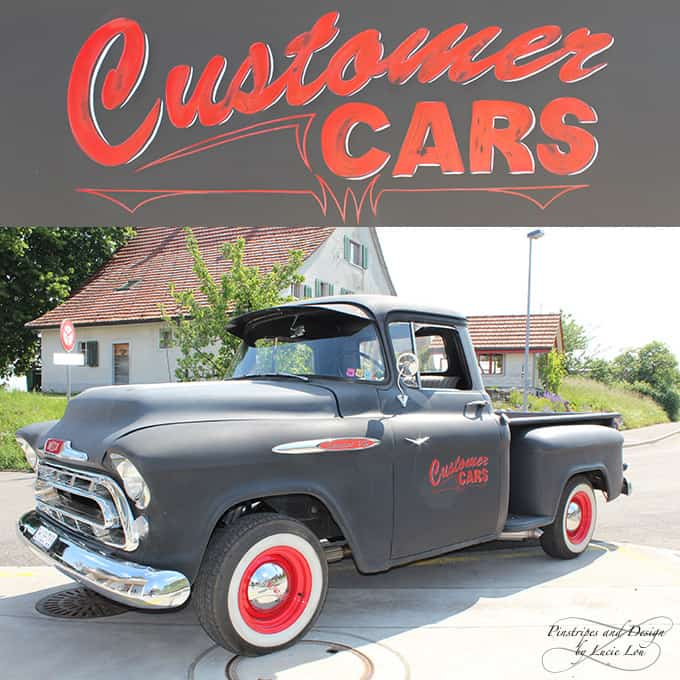 Pinstripe Vintage Beschriftung Chevy