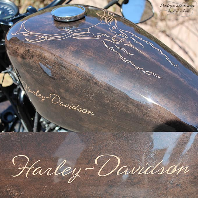 Pinstripe of an abstract Deer on a Harley-Davidson, with Lettering