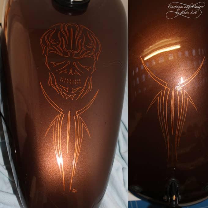 Brass Skull Pinstripe Harley Sportster