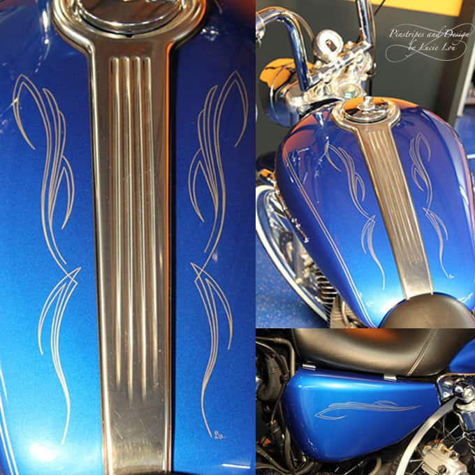 Silver Pinstripes on a Blue Sportster