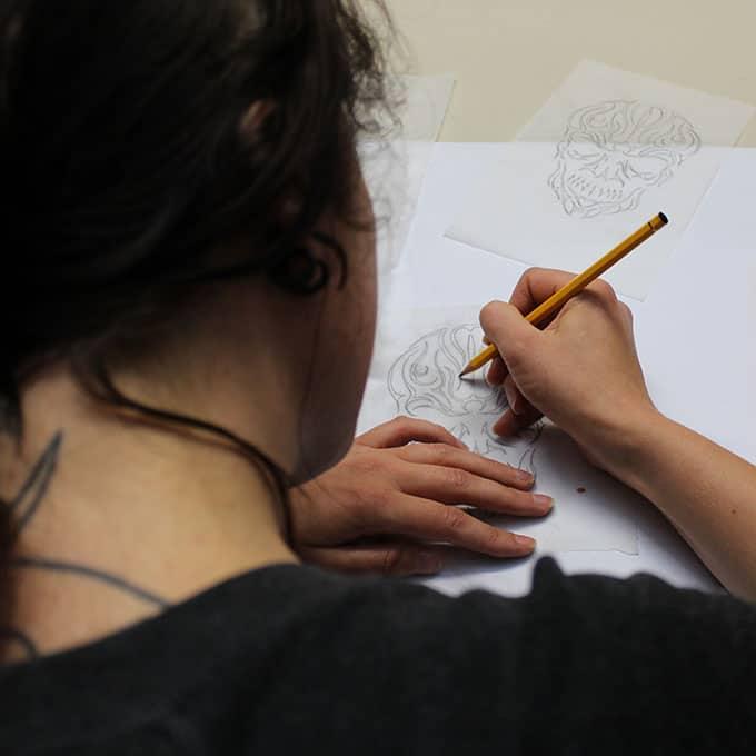 Lucie Lou Sketching Skull