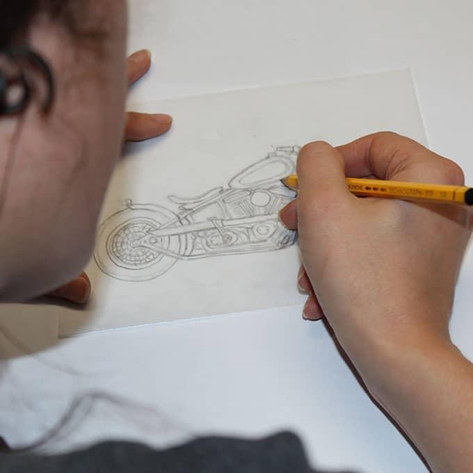 Lucie Lou sketching Bobber