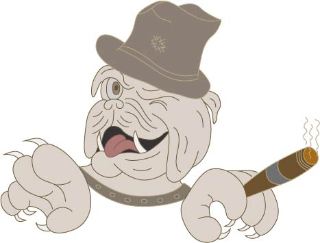 The picture shows a vectorized and coloured illustration of an english bulldog