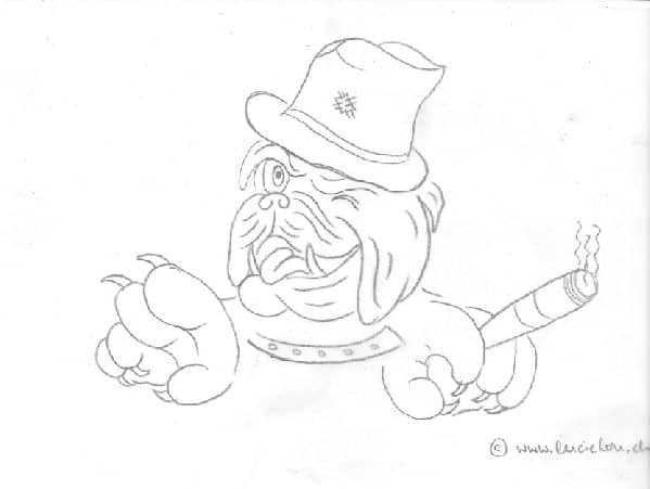 Sketch of an english bulldog doing the jeep wave
