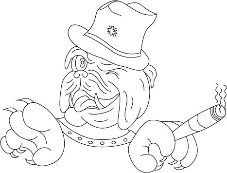 Vectorized Illustration of an English Bulldog doing the Jeep Wave