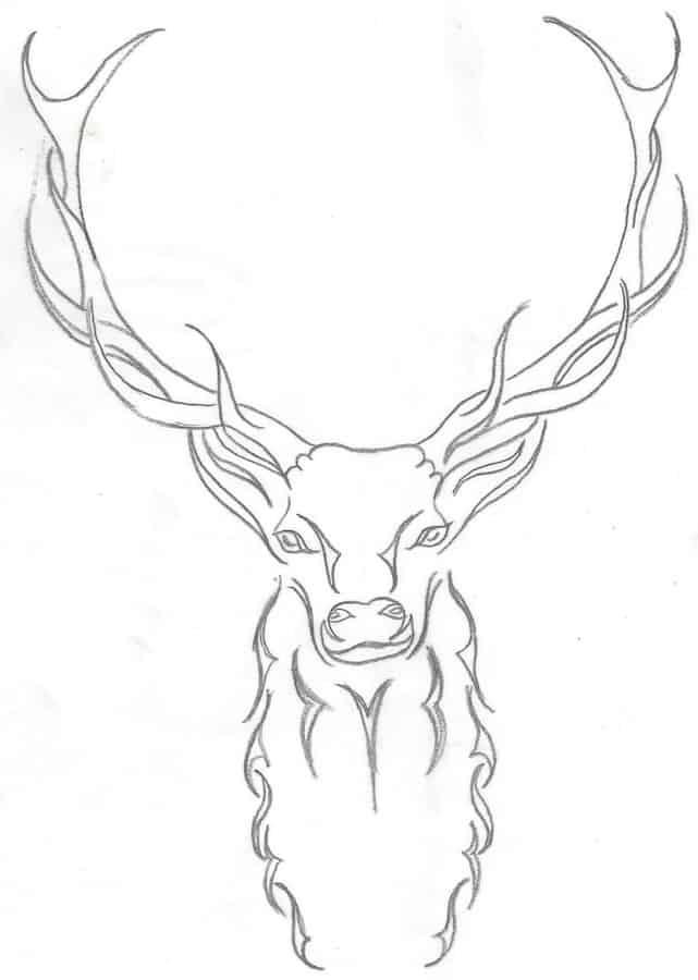 Abstract sketch of a deer