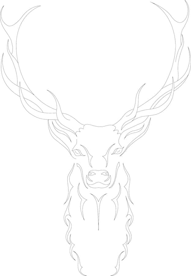 Abstract Vectorized Illustration of a Deer with Brown Fillings