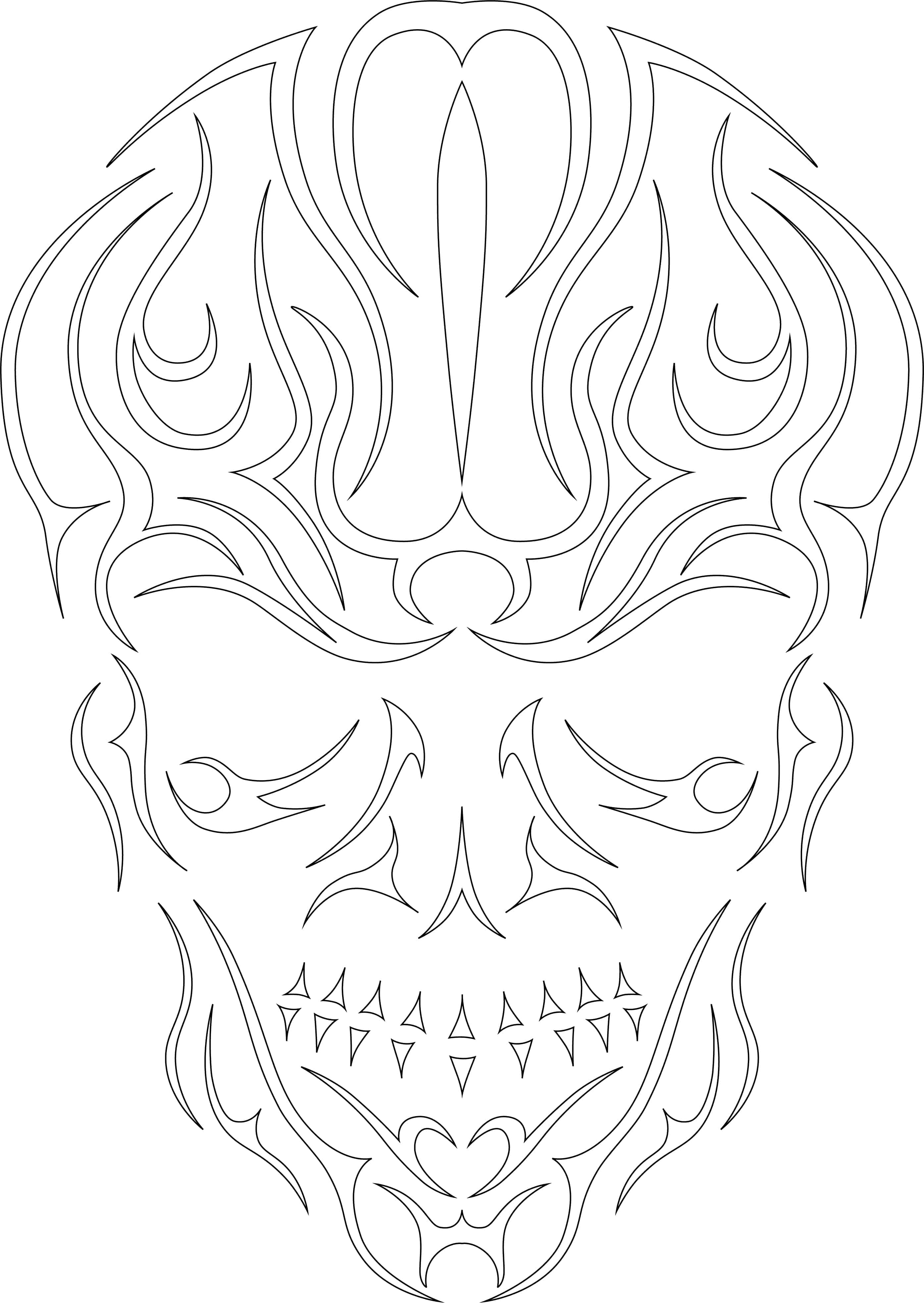 Vectorized abstract skull with outlines